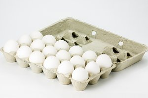 Carton of white eggs