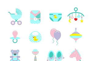 Baby Colored Icon Set