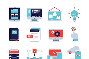 Program Development Flat Icon Set