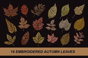 18 Embroidered Autumn Leaves