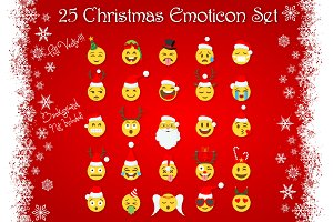 25 Christmas Emoticon Set