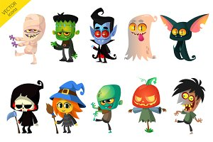 Cartoon Halloween vector characters