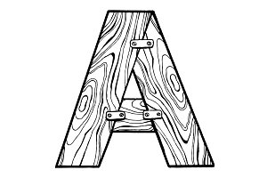 Wooden letter A engraving vector illustration