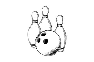 Bowling engraving vector illustration