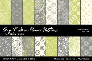 Gray & Green Flower Digital Papers