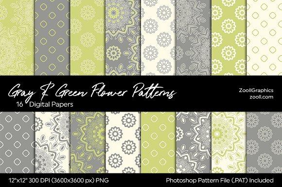 Gray Green Flower Digital Papers