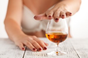 gesturing don't drink