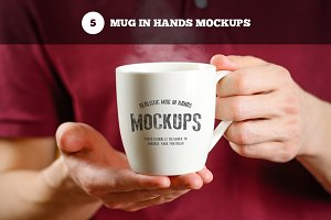 White Mugs in Hands Mockups