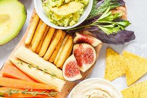 Hummus and guacamole
