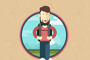 Flat tourist illustration/icon