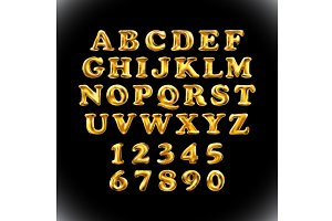 gold alphabet balloon vector