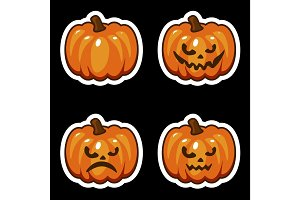 Funny cartoon halloween pumpkin sticker icons