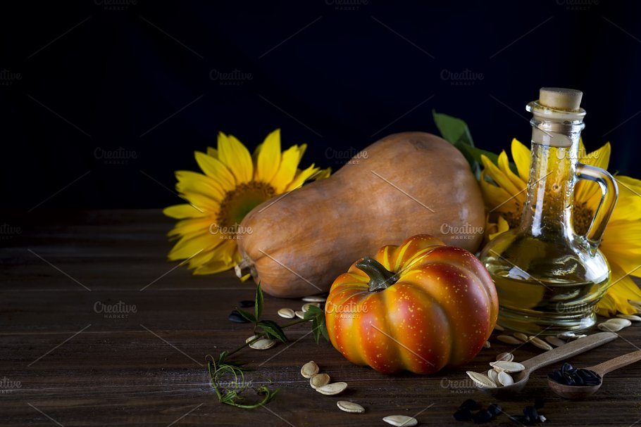Autumn Still Life With Pumpkins Oil And Sunflowers