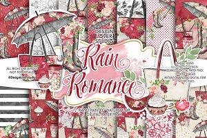 Rain Romance digital paper pack