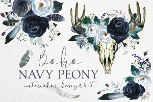 Boho Navy Peony Floral Design Kit