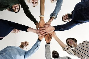 Diverse People Hands Together