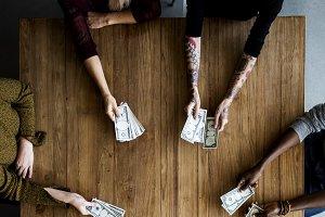 People Hands Hold Money Bills
