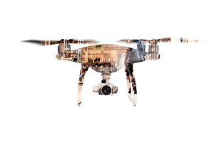 Double exposure. Hovering drone and big old warehouse. Isolated.