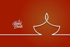 Diwali lamp logo line design