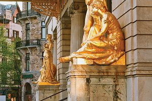 Gold-plated sculptures. Stockholm