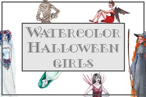 Watercolor Halloween Girls
