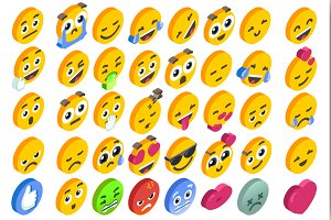 Emoji Set Emoticon Reactions Social