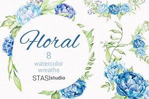 Blue Peonies Floral Frames