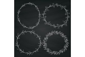 Chalk Drawing Wreaths
