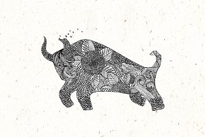 Bull Pamplona Hand Drawn