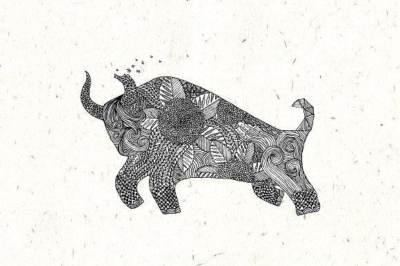 Bull Pamplona Hand Drawn