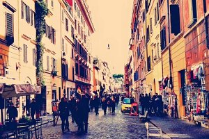 Shopping street in Rome