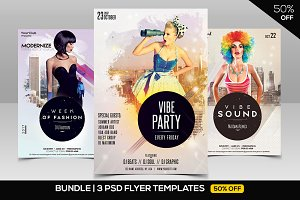 BUNDLE 50% OFF - 3 PSD Vibe Flyers