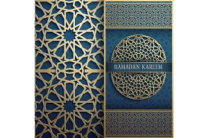 3d Ramadan Kareem greeting card,invitation islamic style.Arabic circle golden pattern.Islamic brochure gold on blue