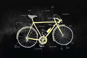 Bicycle Parts Description Hand Drawn