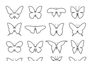 Vector of group shape of a butterfly