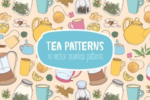 Seamless pattern with tea accessorie
