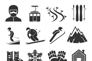 Ski resort sports icons