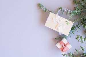 Gift boxes with green leaves