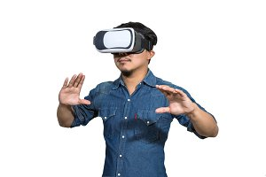 Asian Man wearing virtual reality