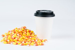 Halloween candy and a cup of coffee