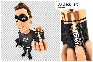 3D Black Hero Holding Battery