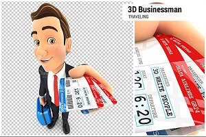 3D Businessman Traveling