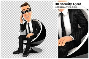 3D Security Agent Sitting in a Chair