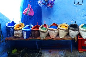 Morocco chefchaouen blue city spices