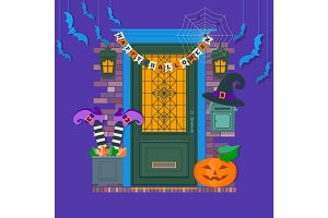 Happy Halloween card, background, poster. View of the entrance to the house decorated for Halloween.Vector illustration.