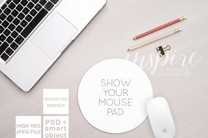 Round Mouse Pad Mockup + PSD