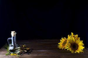 Sunflower oil in bottle glass