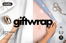 Gift Wrapping Paper Mockup Set