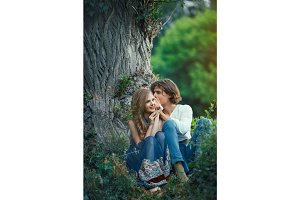 Young couple of elves in love outdoor