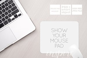 Rectangle Mouse Pad Mockup + PSD